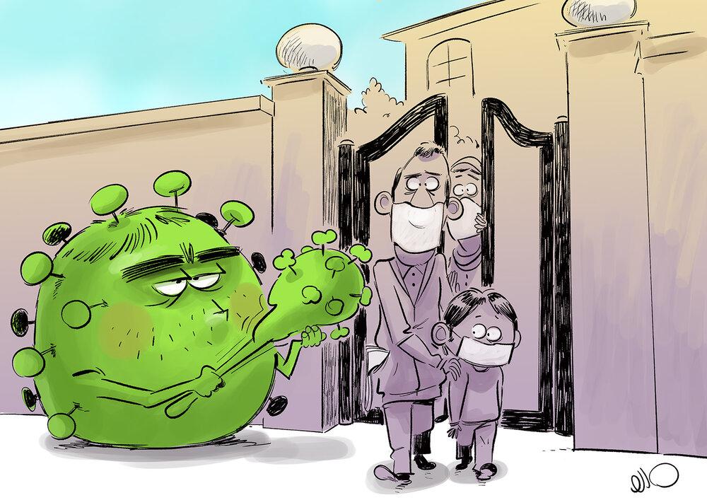 کارتون های روز: وداع با استاد شجریان، وضعیت قرمز کرونا، گودزیلا در جاده شمال، جریمه ماسک نزدن و تنها با کرونا!