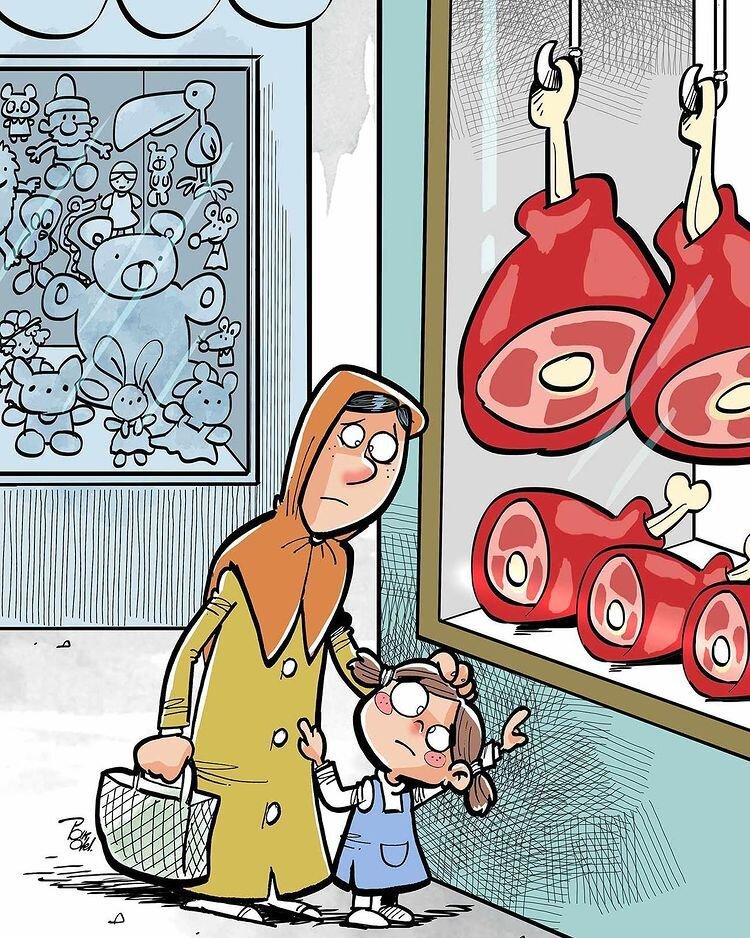 کارتون های روز: قاچاق چوب، ساسی در کمین خانواده، قیمت گوشت، کارمند بانک و فرار کرونا!