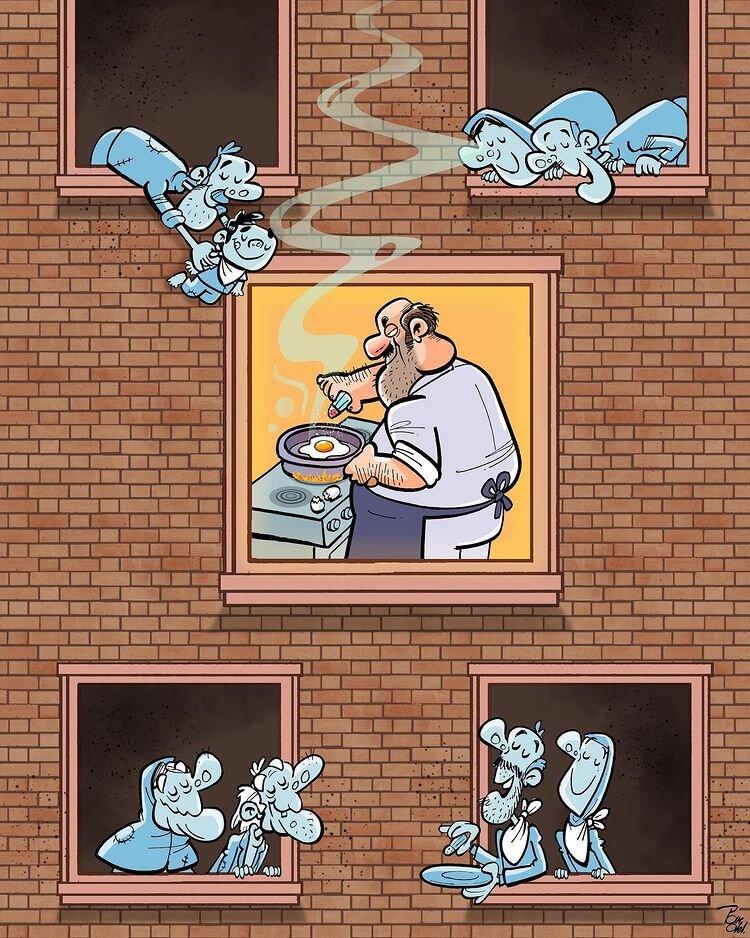 کارتون های روز: چهارشنبه سوری، دغدغه برخی از خانمها، مرغ کرونایی، قیمت واکسن کرونا و کبوتر صلح!
