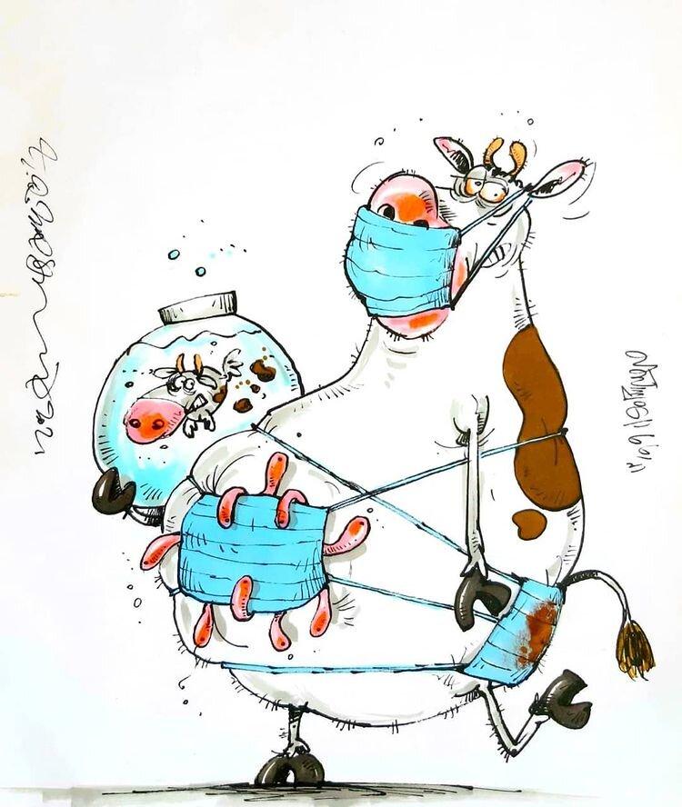 کارتون های روز: گاو و کرونا، سفرهای نوروزی، عمو فیروز، آجیل عید و تخت بیمارستان ها
